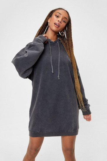 Grey Acid Wash Oversized Hoodie Dress