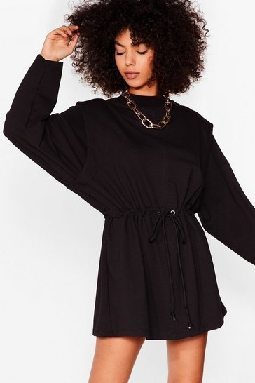 Black Power Shoulder of Love Sweatshirt Mini Dress