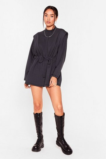 Charcoal Power Shoulder of Love Sweatshirt Mini Dress