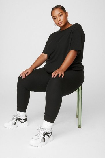 Black Plus Size Fitted Sweatpants Loungewear Set