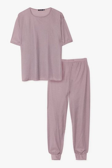 Taupe Plus Size Fitted Sweatpants Loungewear Set