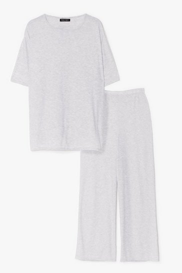 Grey marl Plus Size T-Shirt and Wide Leg Pants Set