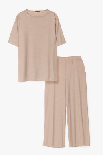 Grey marl Good Times on Rib-peat Plus Wide-Leg Pants Set