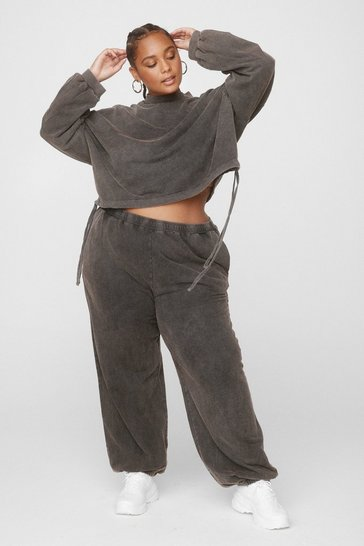 Charcoal Hey Wash Out Cropped Sweatshirt and Jogger Set