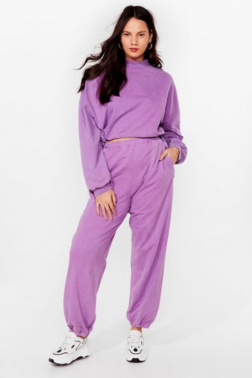 Grande taille - Ensemble sportif sweat court & pantalon de jogging, Lilac