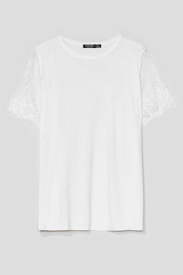 White Plus Size Lace Short Sleeve T-Shirt