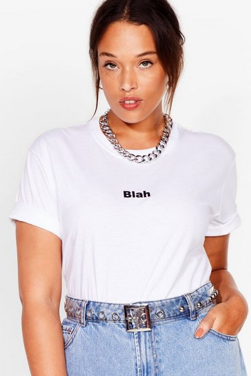 White Plus Size Blah Slogan Tee