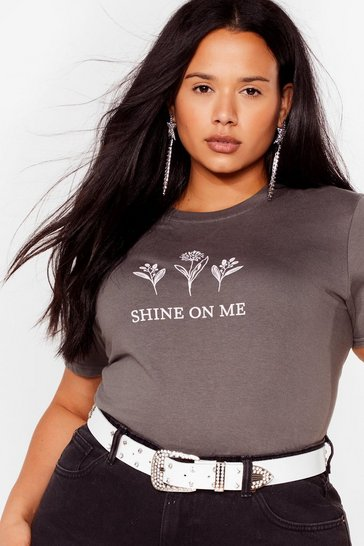 Grande taille - T-shirt à slogan Shine On Me, Charcoal