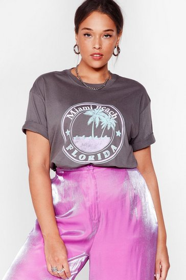 Charcoal Welcome to Miami Beach Plus Graphic Tee