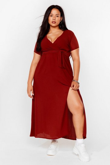 Rust Longing For You Plus Wrap Dress