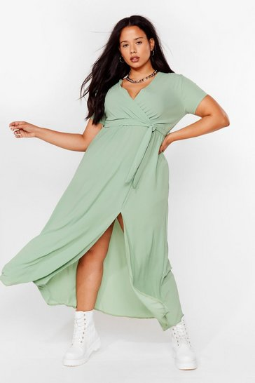 Longing For You Plus Wrap Dress, Sage