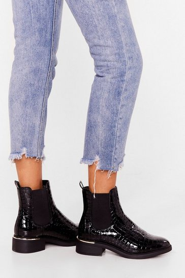 Black Croc Draggin' Your Feet Wide Fit Chelsea Boots