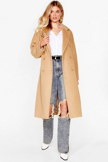 Camel We Faux Wool Be There Longline Double Breasted Coat