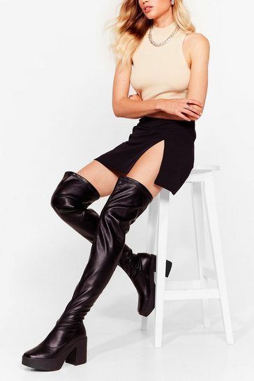 Black Thigh's the Limit Over-the-Knee Heeled Boots