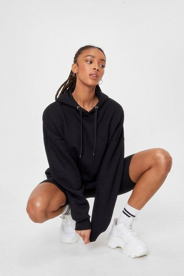 Black A Big Believer Oversized Pullover Hoodie
