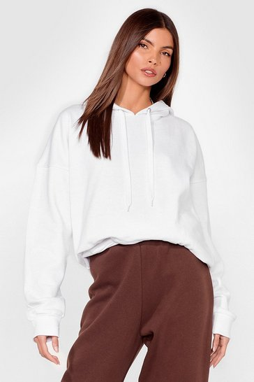 White A Big Believer Oversized Pullover Hoodie