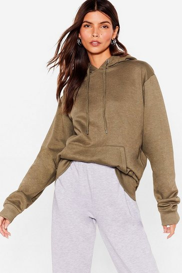 Khaki The Wait is Over-sized Hoodie