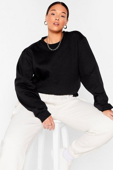 Black Meet the Crew Neck Plus Oversized Sweatshirt