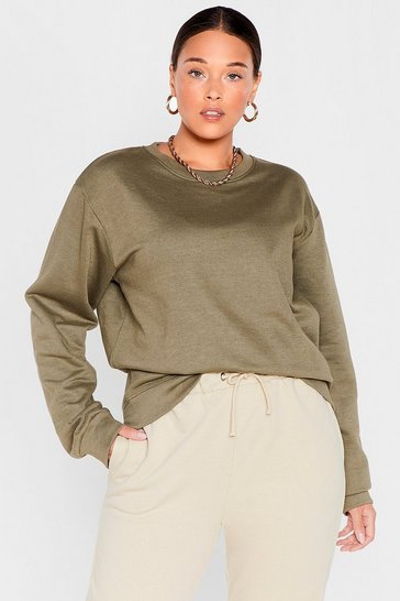 Grande taille - Sweat oversize basique Rock The Cas-base, Khaki