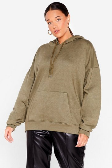 Khaki The Wait is Over-sized Plus Hoodie
