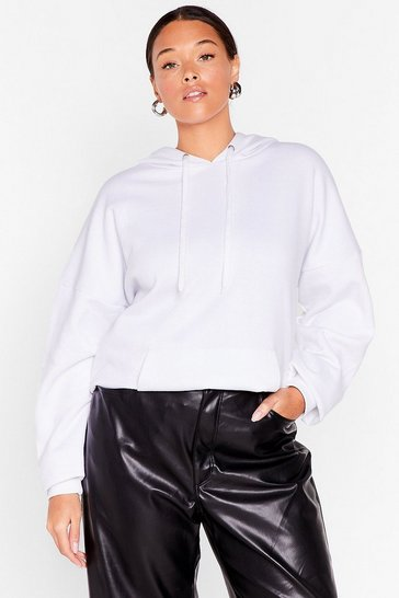 White Plus Size Oversized Pocket Front Hoodie