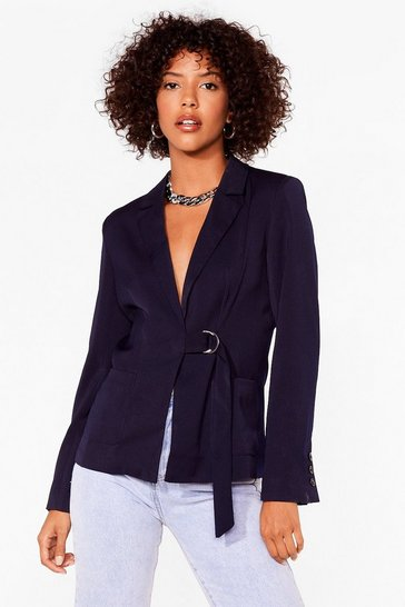 Navy Work Your Magic Plunging Belted Blazer