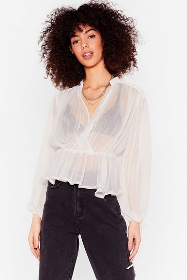 White Sheer's Where It All Began Plunging Blouse