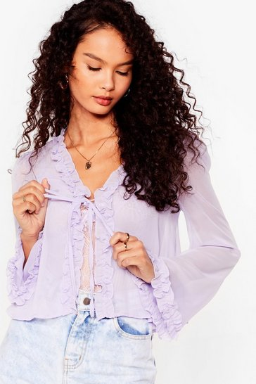 Lilac Sheer Us Out Ruffle Tie Blouse