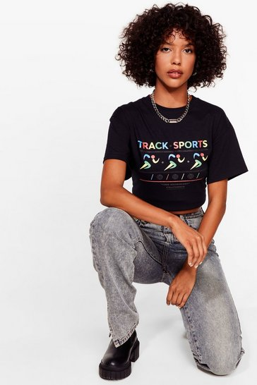 Black Track Sports Relaxed Graphic Tee