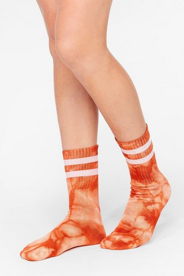 Orange Stripe Back Atcha Ribbed Tie Dye Socks