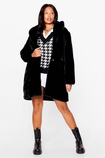 Black Wish You Fur Here Plus Faux Fur Coat
