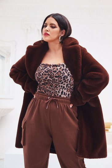 Chocolate Wish You Fur Here Plus Faux Fur Coat