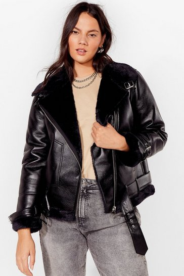 Black See You Aviator Plus Faux Leather Jacket