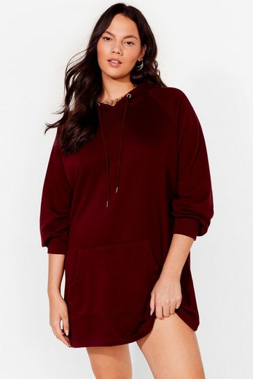 Berry All Night Longline Plus Oversized Hoodie Dress