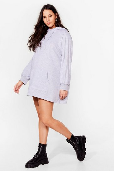 Grey All Night Longline Plus Oversized Hoodie Dress