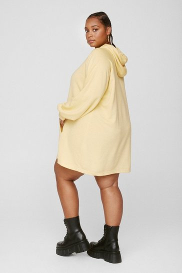 Lemon All Night Longline Plus Oversized Hoodie Dress
