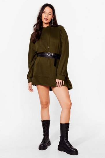 Olive All Night Longline Plus Oversized Hoodie Dress
