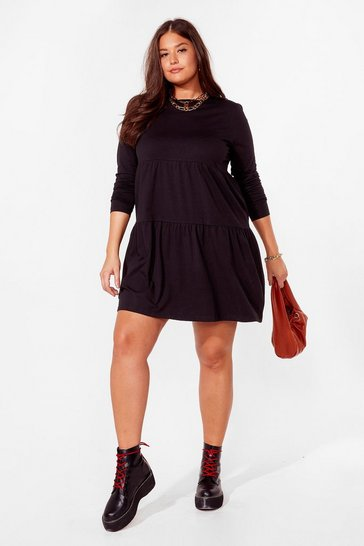 Black Plus Size Tier Smock Mini Dress