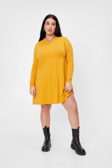 Mustard Plus Size Tier Smock Mini Dress