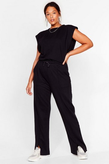 Black Plus Size Top and Split Hem Sweatpants Set