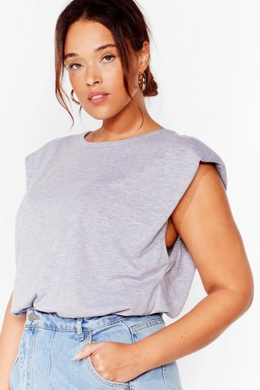 Grey Shoulder Pad to the Bone Plus Jersey Tank Top