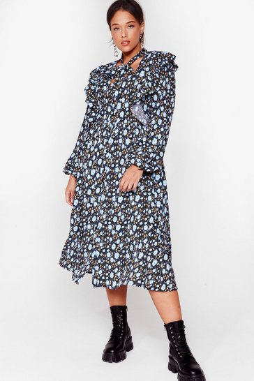 Blue Ties the Limit Plus Floral Dress