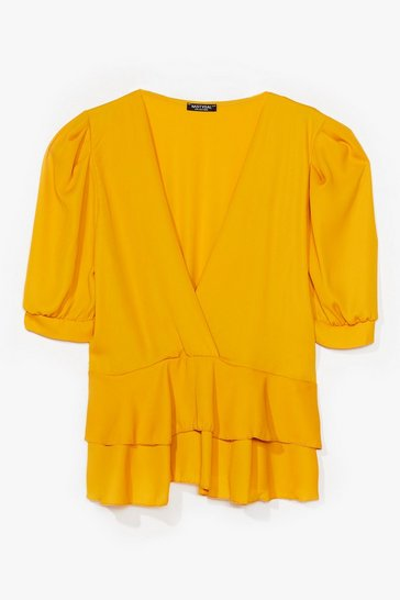 Mustard Plus Size Double Layer Puff Sleeve Top