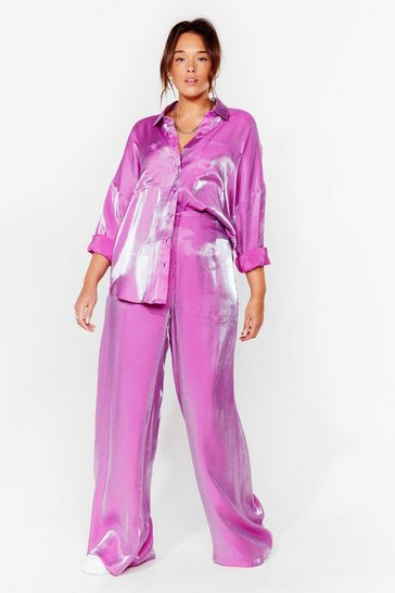 Purple Plus Size Satin Shimmer Wide Leg Pants