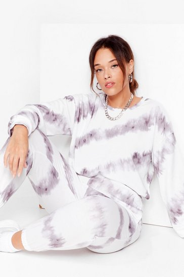 Grey Chill Babe Plus Tie Dye Joggers Set