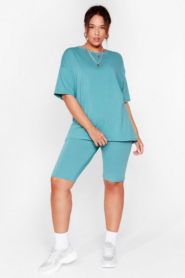 Aqua Win 'Em Oversized Plus Tee and Biker Shorts Set