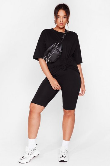 Black Win 'Em Oversized Plus Tee and Biker Shorts Set