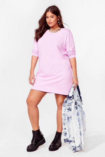 Grande Taille - Robe t-shirt ample J'enfile en douce, Lilac