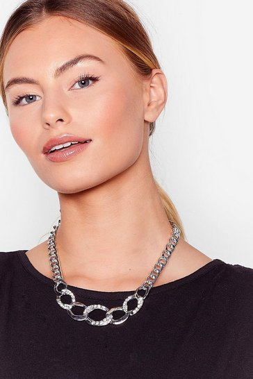 Silver Bling on the Night Diamante Chain Necklace