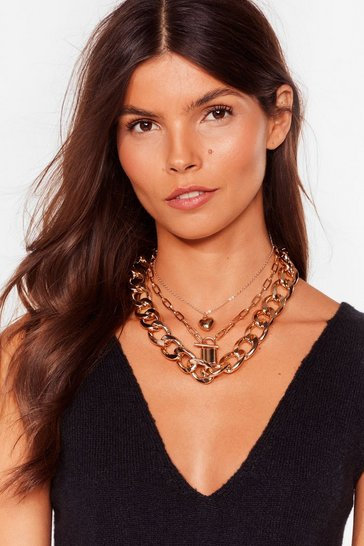 Gold Padlock At You Go Layered Chain Necklace